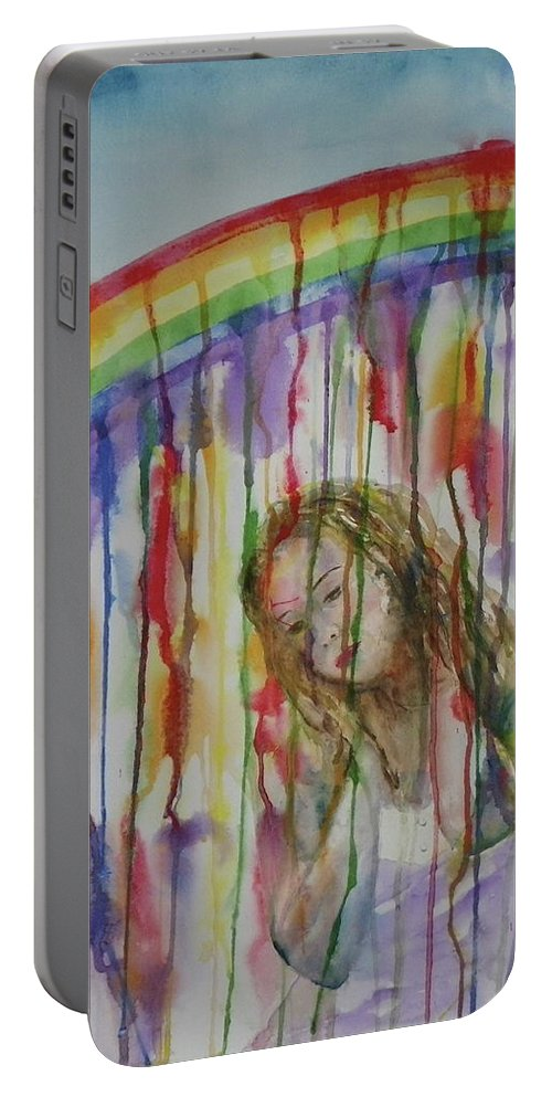 Dream Portable Battery Charger featuring the painting Under A Crying Rainbow by Anna Ruzsan