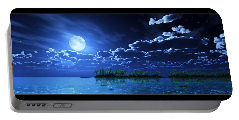 Landscape Portable Battery Charger featuring the digital art Under A Silvery Moon... by Tim Fillingim