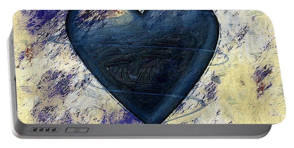 Blue Portable Battery Charger featuring the painting Under Construction by RC DeWinter