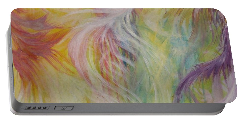Acrylic Painting Portable Battery Charger featuring the painting Under His Wings by Susan Harris