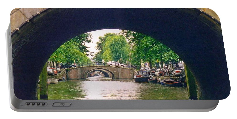 Amsterdam Landscape Portable Battery Charger featuring the photograph Under The Canals by John Malone