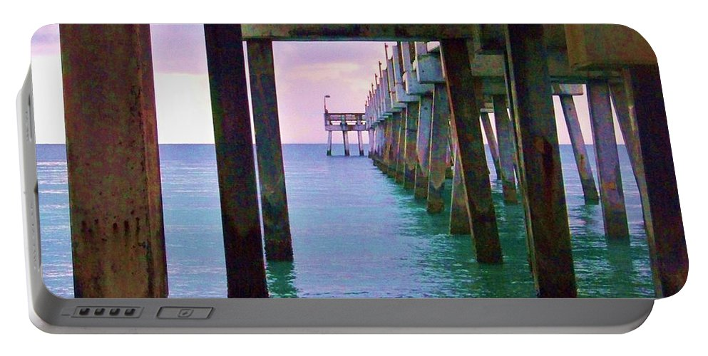 Portable Battery Charger featuring the photograph Under The Pier by Chuck Hicks