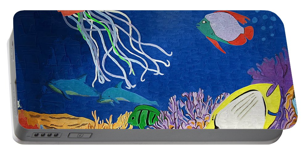 Kelp Portable Battery Charger featuring the photograph Under The Sea Mural 1 by Kathy Clark
