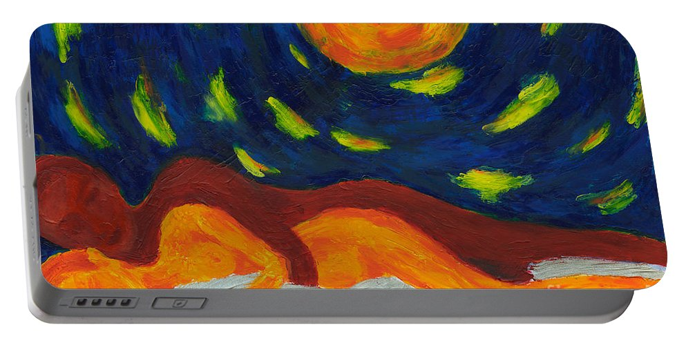 Couple Portable Battery Charger featuring the painting Under The Sky by Olya Me
