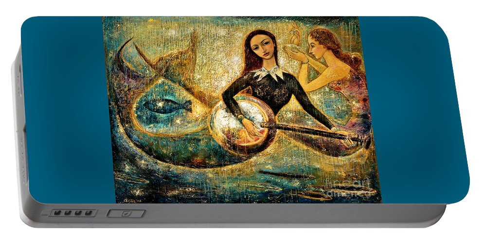 Mermaids Portable Battery Charger featuring the painting Undersea by Shijun Munns