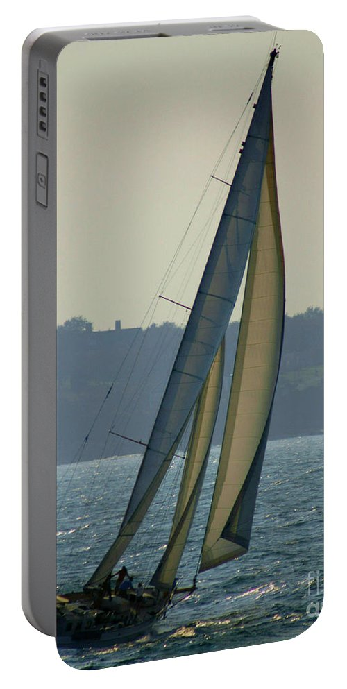 Sail Portable Battery Charger featuring the photograph Underway In Newport by Joe Geraci