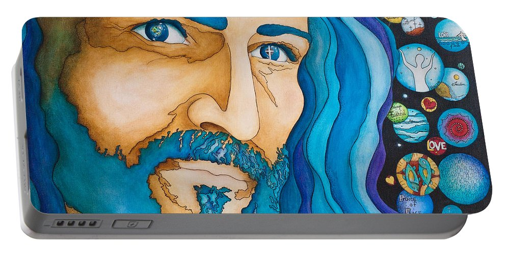 Jesus Portable Battery Charger featuring the painting Unfailing Love by Margarita Puckett