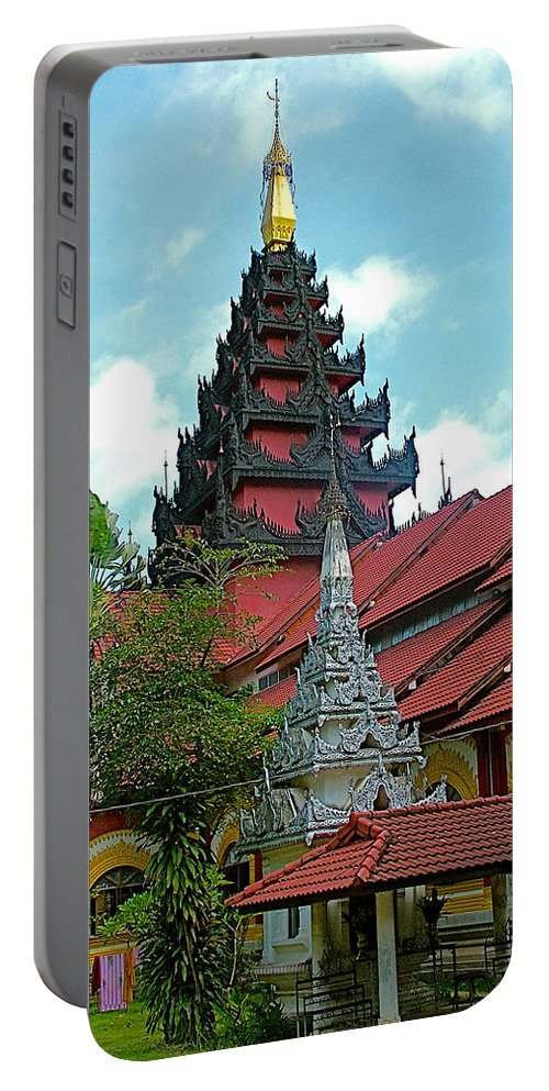 Unfinished Temple In Tachilek Portable Battery Charger featuring the photograph Unfinished Temple In Tachilek-burma by Ruth Hager