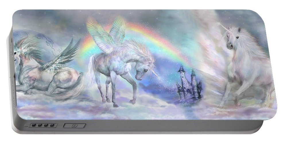 Unicorn Portable Battery Charger featuring the mixed media Unicorn Dreams by Carol Cavalaris