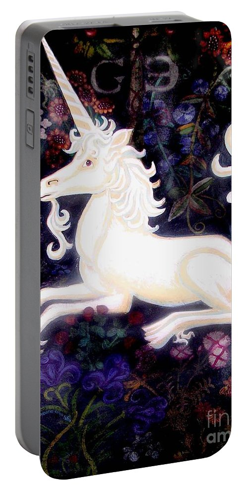 The Unicorn Tapestries Portable Battery Charger featuring the painting Unicorn Floral by Genevieve Esson