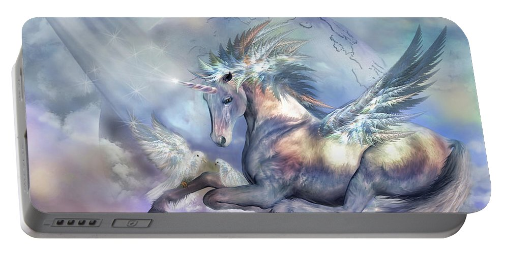 Unicorn Portable Battery Charger featuring the mixed media Unicorn Of Peace by Carol Cavalaris
