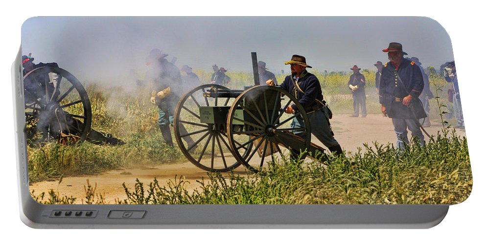 Union Portable Battery Charger featuring the photograph Union Gattling Gun by Tommy Anderson