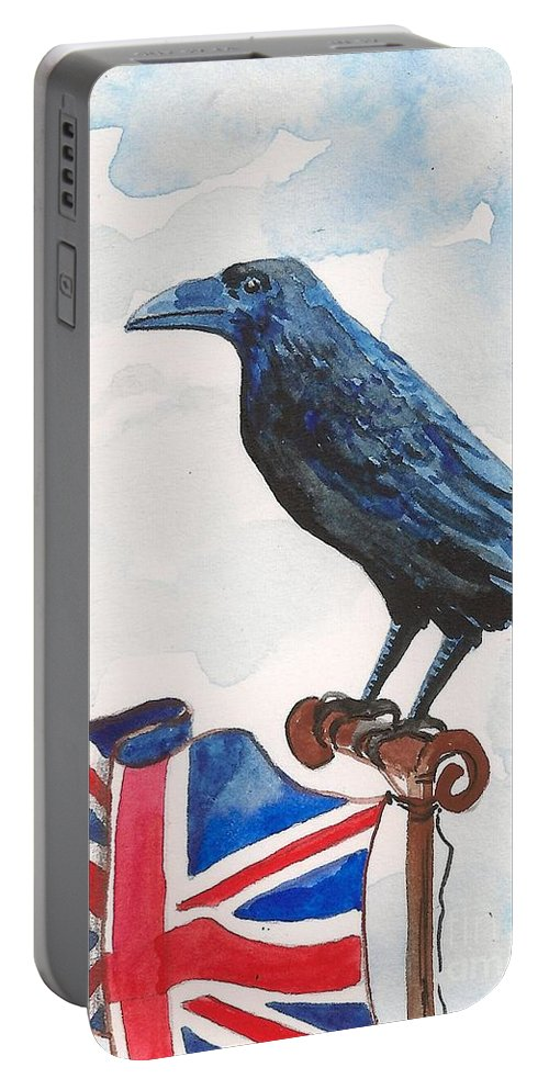Print Portable Battery Charger featuring the painting Union Jack by Margaryta Yermolayeva