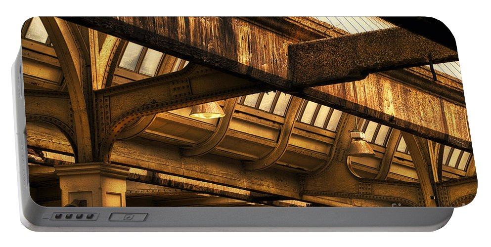 Union Station Portable Battery Charger featuring the photograph Union Station Roof Beams by Thomas Woolworth