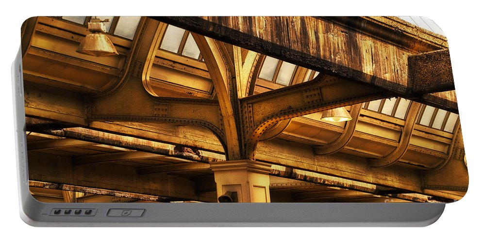 Union Station Portable Battery Charger featuring the photograph Union Station Roof Structure by Thomas Woolworth