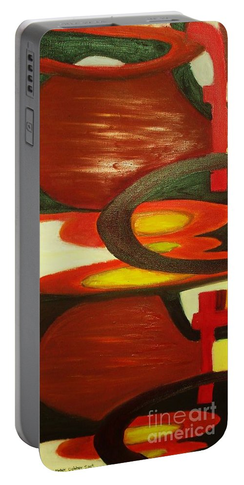 Oil Abstract Portable Battery Charger featuring the painting Unique I by Yael VanGruber
