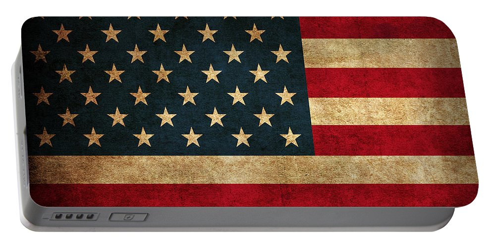 United States American Usa Flag Vintage Distressed Finish On Worn Canvas Portable Battery Charger featuring the mixed media United States American USA Flag Vintage Distressed Finish on Worn Canvas by Design Turnpike