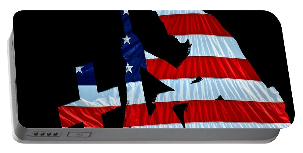 Patriotic Portable Battery Charger featuring the photograph A Time To Remember United States Flag With Kneeling Soldier Silhouette by Bob Orsillo