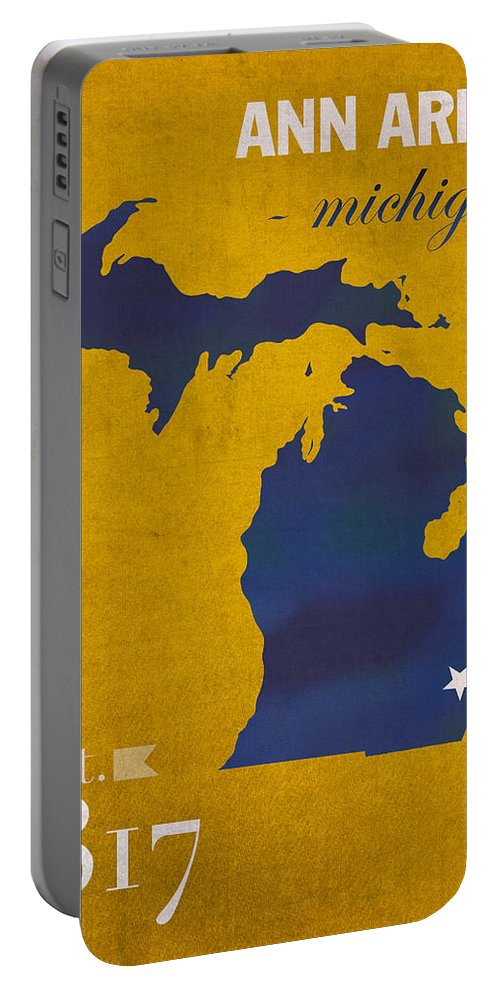 University Of Michigan Portable Battery Charger featuring the mixed media University Of Michigan Wolverines Ann Arbor College Town State Map Poster Series No 001 by Design Turnpike