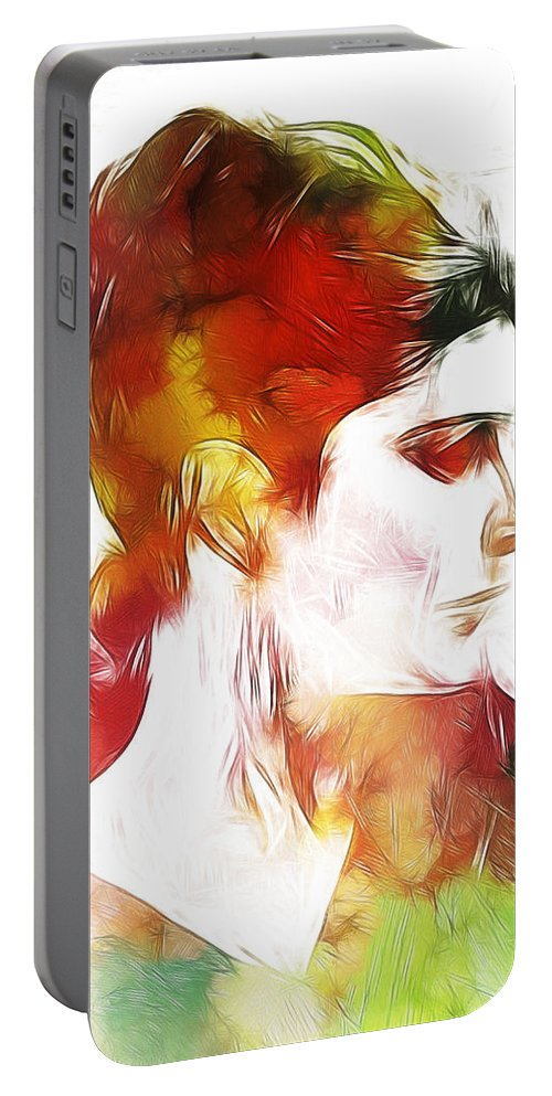 Lady Woman Face Portrait Expressionism Impressionism Face Color Colorful Painting Portable Battery Charger featuring the painting Unknown Lady by Steve K