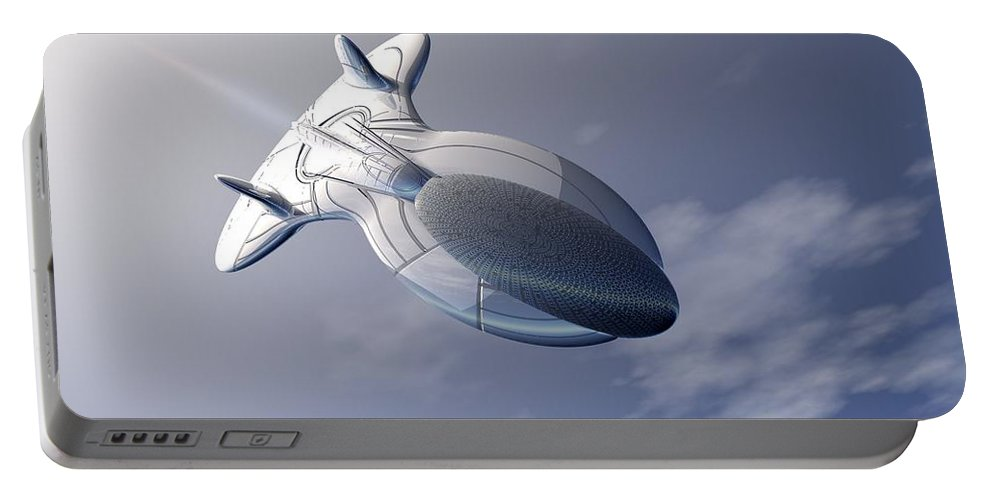 Digital Art Portable Battery Charger featuring the digital art Unmanned Spaceship by Michael Wimer