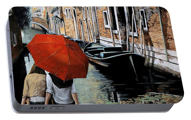 Canal Scene Portable Battery Charger featuring the painting Uno Sguardo Al Canale by Guido Borelli