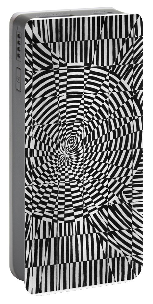 Abstract Portable Battery Charger featuring the drawing Unraveled by Crystal Hubbard