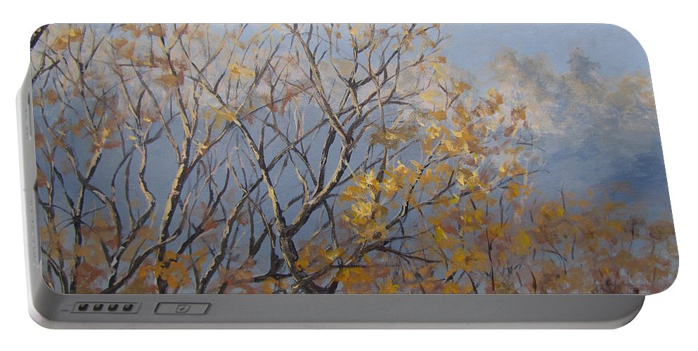 Fall Portable Battery Charger featuring the painting Until Next Year by Karen Ilari