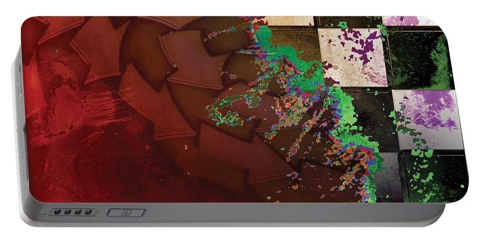 Abstract Portable Battery Charger featuring the digital art Untitled 2014 No 2 by James Kramer