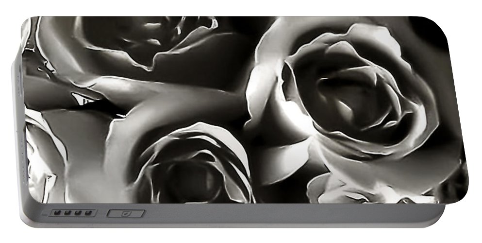 B&w Roses Portable Battery Charger featuring the photograph Bw Rose Bouquet 2 by Doug Heslep