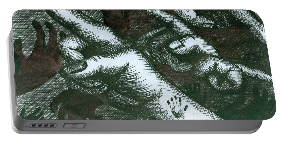 Hands Portable Battery Charger featuring the painting Untitled by Richie Montgomery