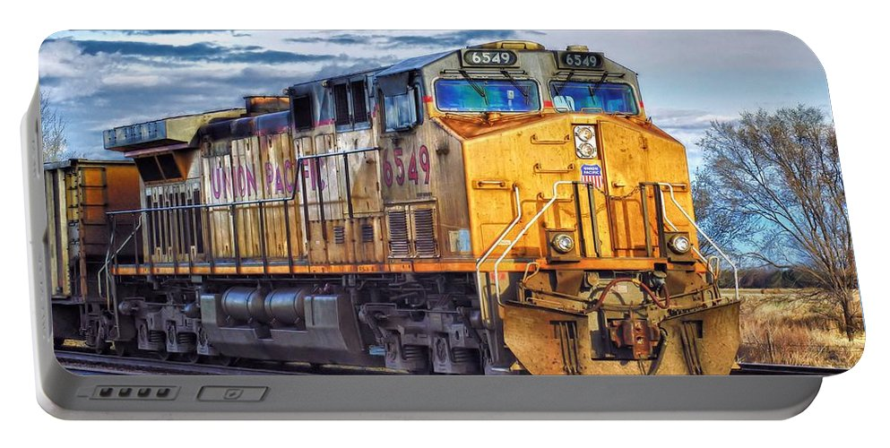Locomotive Portable Battery Charger featuring the photograph Up 6549 by Bill Kesler