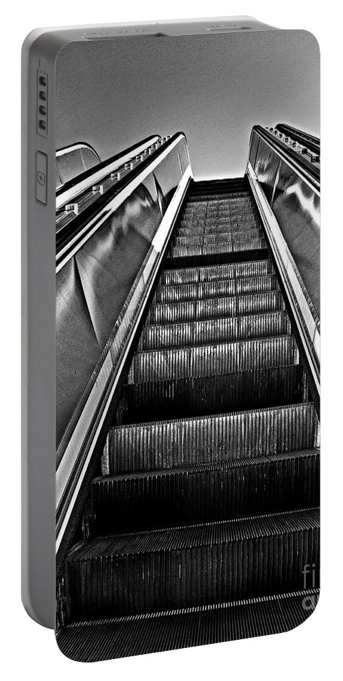 Straight Portable Battery Charger featuring the photograph Up Escalator by Tom Gari Gallery-Three-Photography