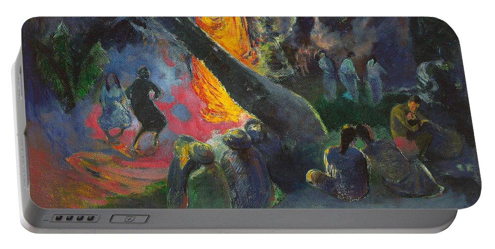 Paul Gauguin Portable Battery Charger featuring the painting Upa Upa.the Fire Dance by Paul Gauguin
