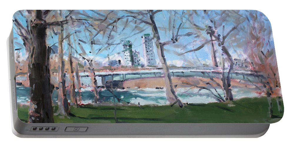 Upper Rapids Portable Battery Charger featuring the painting Upper Rapids Of Niagara Falls Ny by Ylli Haruni