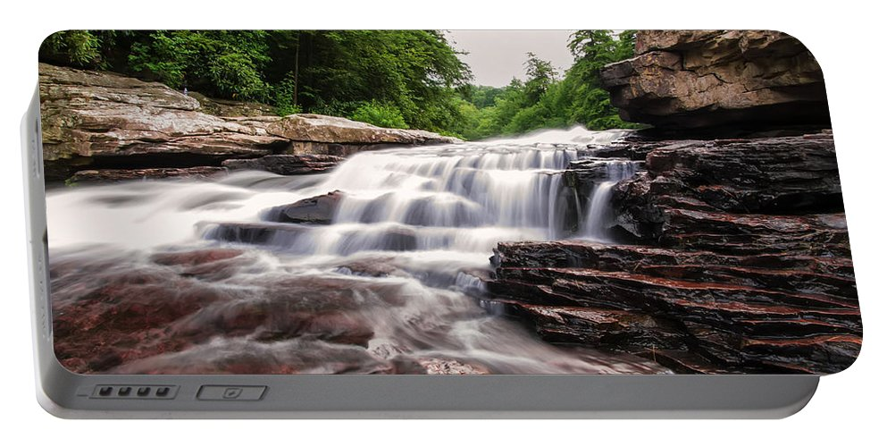 Waterfall Portable Battery Charger featuring the photograph Upper Swallow Falls Close Up by Chris Flees