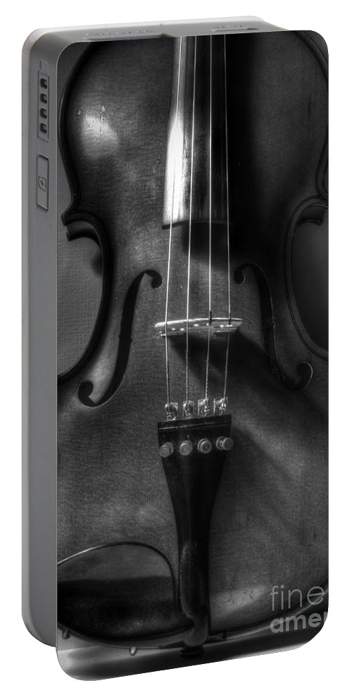 Violin Portable Battery Charger featuring the photograph Upright Violin Bw by J M Lister