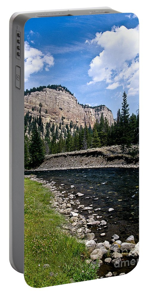 Landscape Portable Battery Charger featuring the photograph Upriver In Washake Wilderness by Kathy McClure