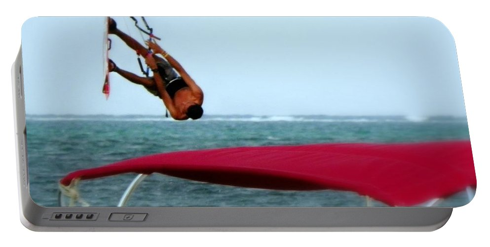 Wind Surfing Portable Battery Charger featuring the photograph Upside Down World by Karen Wiles
