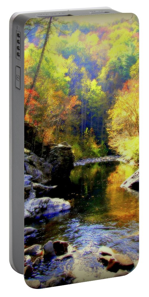 Smokey Mountains Portable Battery Charger featuring the photograph Upstream by Karen Wiles