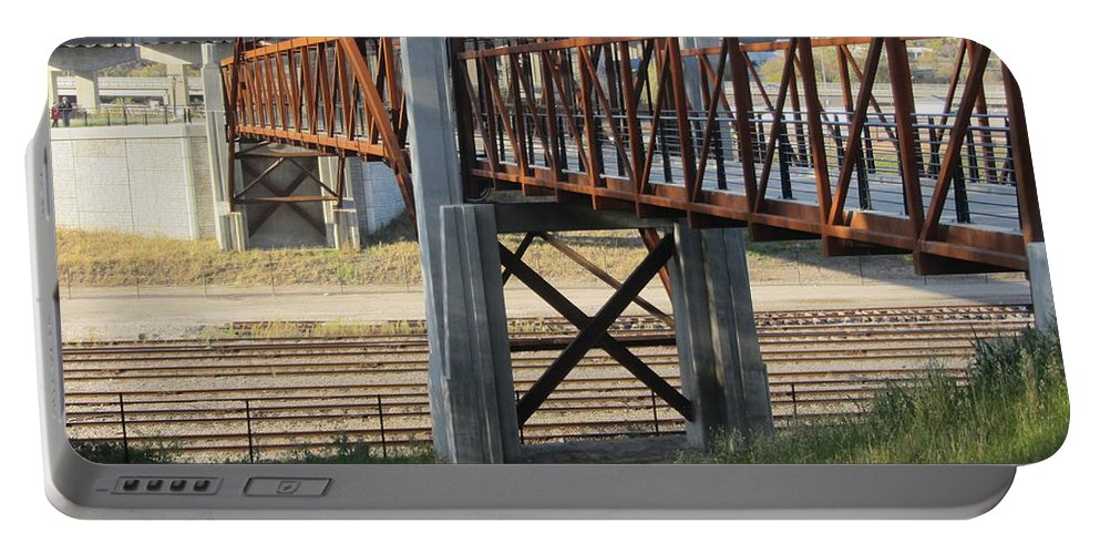 Bridge Portable Battery Charger featuring the photograph Urban Bridge With Arch by Anita Burgermeister