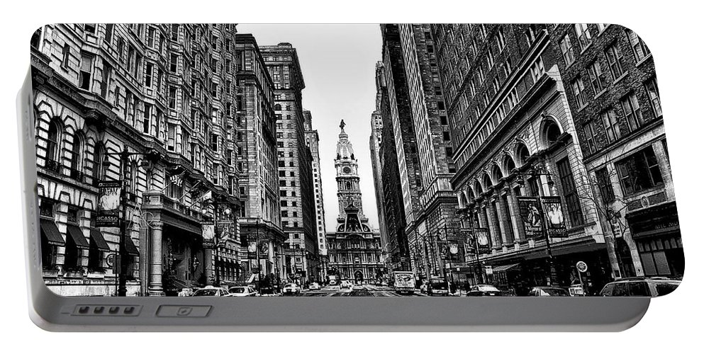 City Portable Battery Charger featuring the photograph Urban Canyon - Philadelphia City Hall by Bill Cannon
