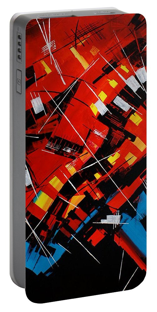 Abstract Portable Battery Charger featuring the painting Urban Communication by Miroslav Stojkovic - Miro