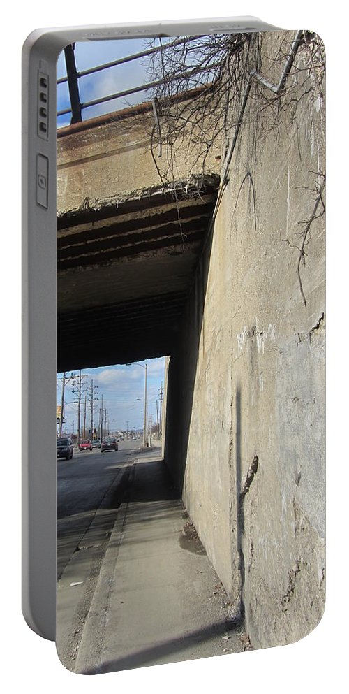 Concrete. Bridge Portable Battery Charger featuring the photograph Urban Decay Train Bridge 2 by Anita Burgermeister