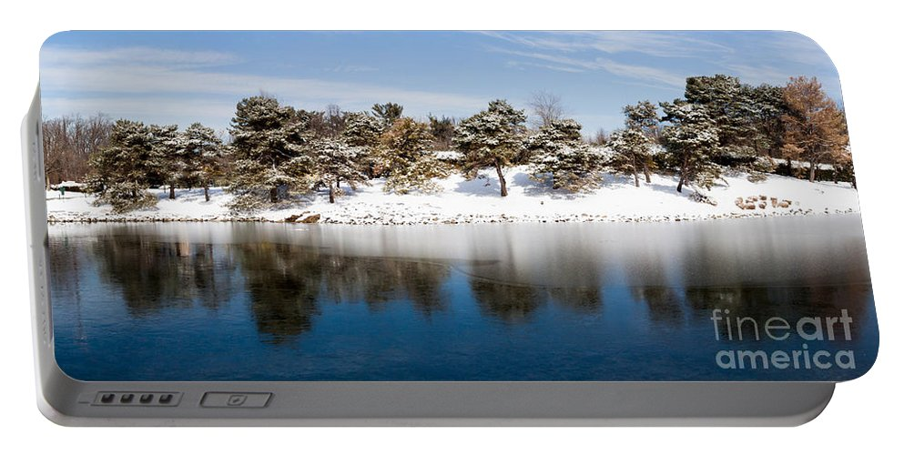 Gaithersburg Portable Battery Charger featuring the photograph Urban Pond In Snow by Thomas Marchessault