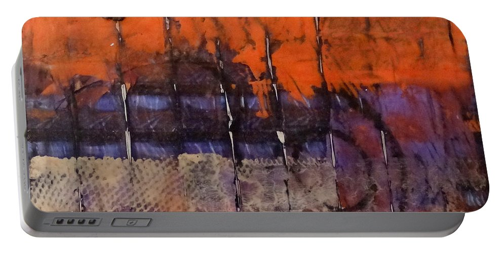 Urban Portable Battery Charger featuring the mixed media Urban Rust by Barbara Oertli