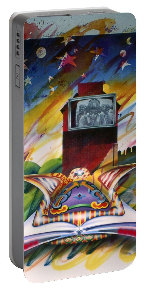 Urban Art Portable Battery Charger featuring the painting Urban Sky by Charles Stuart