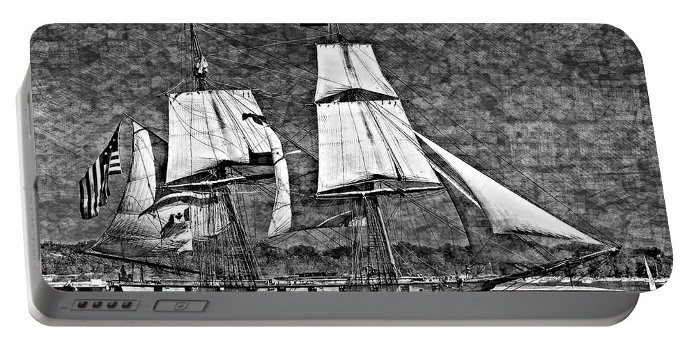 Brig Portable Battery Charger featuring the photograph Us Brig Niagra Texture Overlay Bw by Steve Harrington