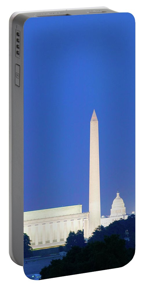 Photography Portable Battery Charger featuring the photograph Us Capitol, Washington Monument by Panoramic Images
