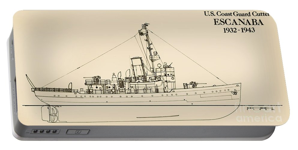 Uscg Portable Battery Charger featuring the drawing U. S. Coast Guard Cutter Escanaba by Jerry McElroy